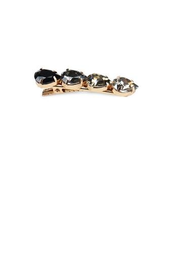 Glamorousky black Simple Temperament Plated Gold Geometric Black Cubic Zirconia Hair Clip 59A47AC35962F1GS_1