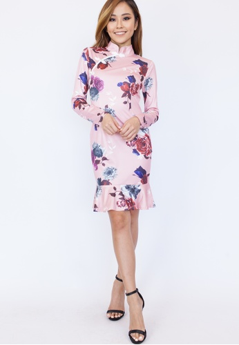 Hook Clothing pink and multi Long Sleeve Floral Cheongsam 32B81AA1010849GS_1