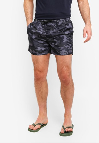 Brave Soul grey Camo Print Swim Shorts A688EAA74D1D81GS_1
