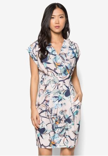 裹飾V 領束腰花色洋裝,尖沙咀 esprit outlet 服飾, 洋裝