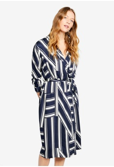 2f1a3f3ff Violeta by MANGO blue and navy Plus Size Striped Wrap Dress  D29B3AA14C6AAEGS_1