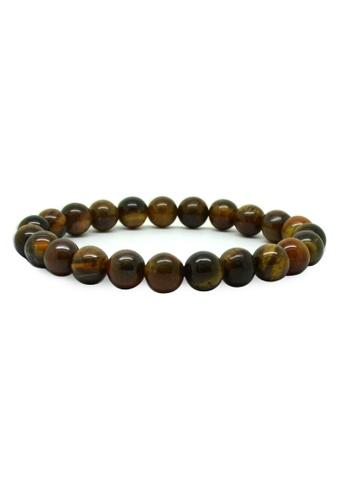 Fur Nyce brown Tiger's Eyes Beads Men's Bracelet FU779AC64JJVMY_1