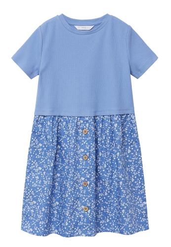 MANGO KIDS blue Contrast-Bodice Dress 5695AKAAFD6372GS_1