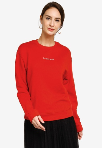 Hopeshow red Slogan Long Sleeve Sweater 38D49AABD75CCEGS_1