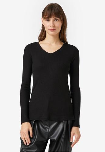KOTON black V-Neck Rib Long Sleeve Top 5F3C1AA49472C5GS_1