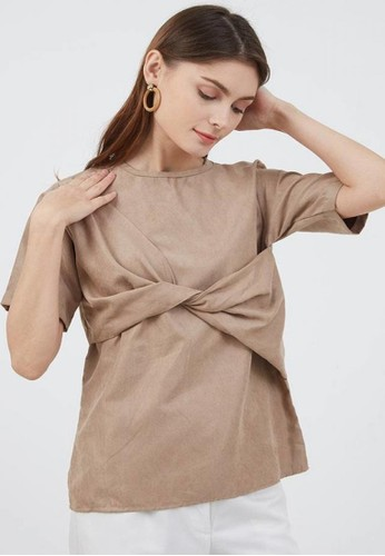 Berrybenka Label brown Sophie Kanna Twisted Blouse Brown F1DDBAAF2A2980GS_1
