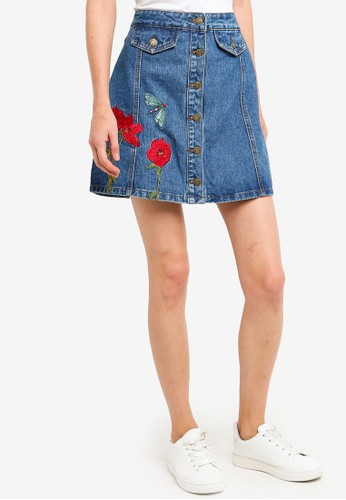 Brave Soul blue Button Through Denim Skirt With Poppy Embroidery Detail B25CAAA6241D53GS_1