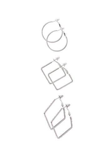 Red's Revenge gold 3-in-1 dainty diamante hoops earring set 45447AC323E1C0GS_1