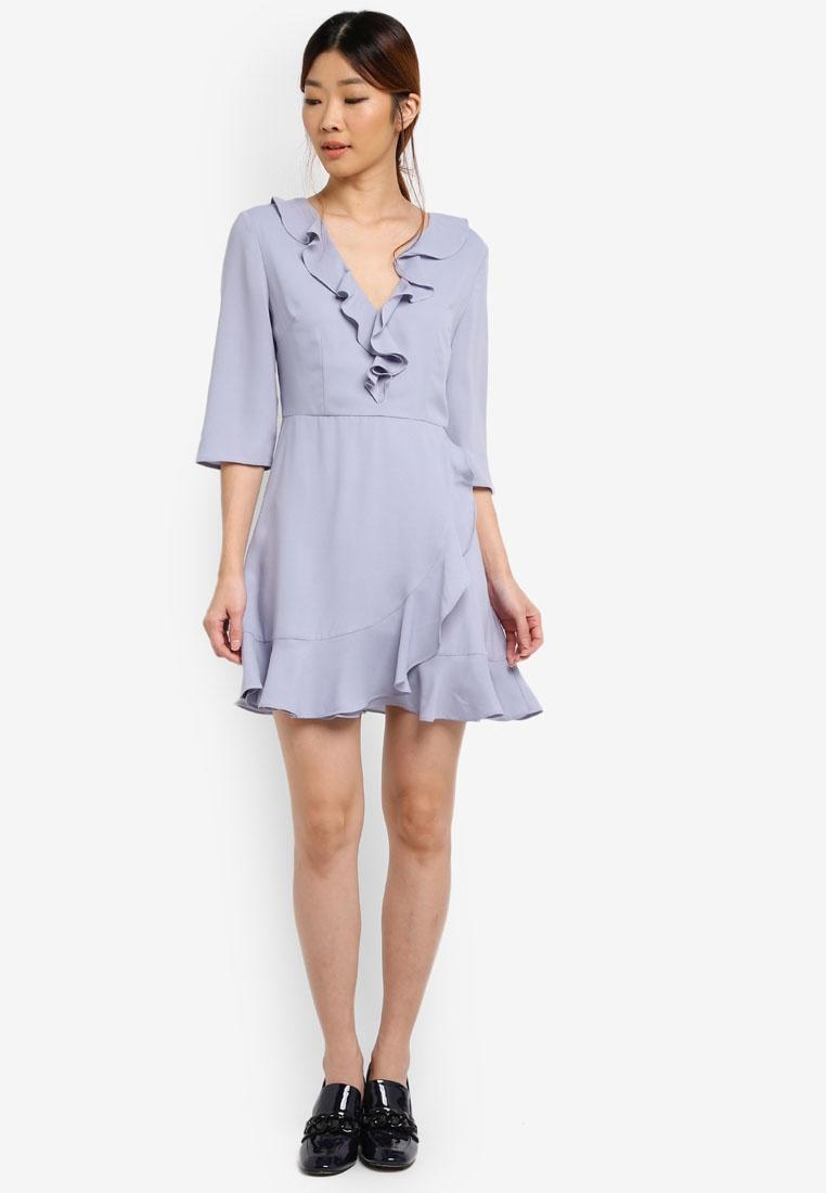 Ruffle Grey Dress Blue Something Waisted Detail Borrowed w1Wqx10FpU