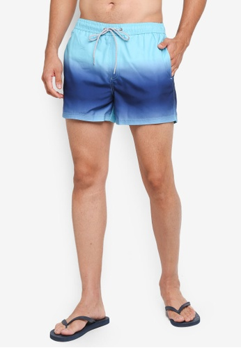 Burton Menswear London blue Blue Dip Dye Pull On Swim Shorts 64C30US9CBD75FGS_1
