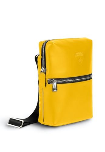 Lamborghini yellow Automobili Lamborghini® Pure Yellow Calf Leather Bodybag Made in Italy 2206AAC9BC4DEEGS_1
