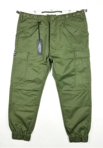 L.I.M.I.T.E green Printed Twill Chino Joggers Pants LI425AA0FCJ2SG_1
