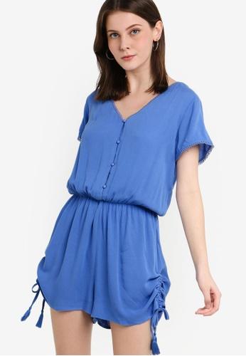ZALORA blue Ruched Side Playsuit 94E61AA0866E35GS_1