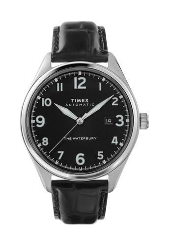 TIMEX black and silver Timex Waterbury Automatic 42mm - Silver-Tone Case, Black Strap (TW2T69600) A4818ACAB82968GS_1