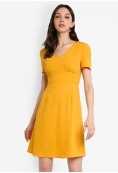 81f0a8a8302b ZALORA BASICS yellow Basic V-Neck Tea Dress E5F43AA5F5F323GS_1
