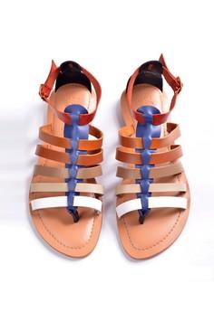 Manna Soles' Rebecca Blue Vero Curso Leather Gladiator Sandals