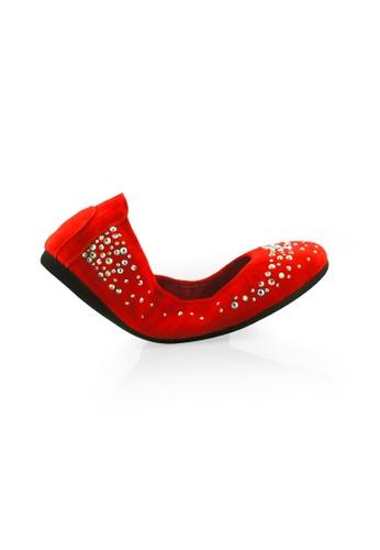 Gripz red Jamie Sparkly Round Toe Foldable Flats GR357SH75OMYSG_1