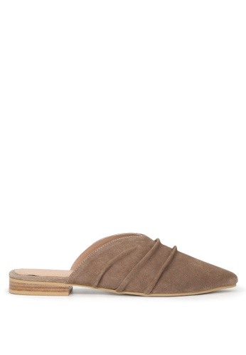 RAG&CO brown Rag & Co Women's Taupe Pleated Suede Melinda Flat Mules RCSH01 91603SH80D9D06GS_1