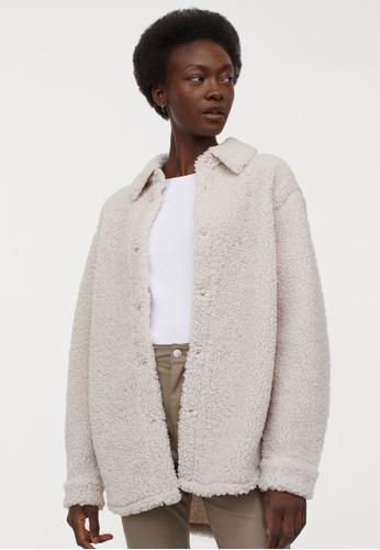 H&M grey Faux shearling shirt jacket E187EAAB6CD88EGS_1