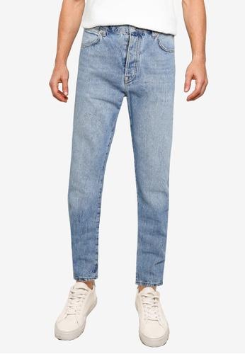 Topman blue Light Stone Wash Straight Jeans F630BAAD5421D1GS_1