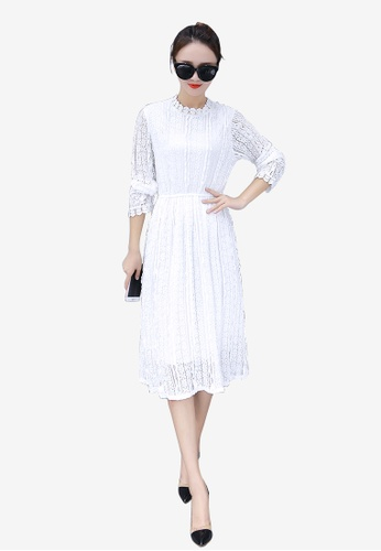 Lara white Long Sleeves Lace Crochet Overlay One Piece Dress 1BCFAAAC3228A3GS_1