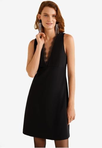 Mango black Lace Panel Dress 25BB6AA64BE8C1GS_1