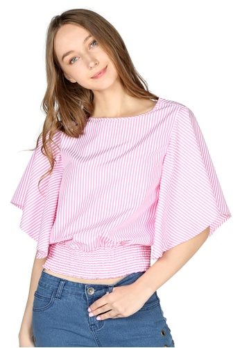 London Rag pink Pink Stripe High Neck Batwing Top 8A488AAF66CE33GS_1