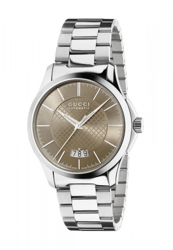 Gucci silver and brown GUCCI G-Timeless Medium Automatic Brown Diamond Pattern Dial Stainless Steel Ladies Watch 3B41FACC73198DGS_1