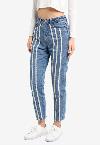 LOST INK blue Slim Mom Ankle Grazer With Pearl Stripe LO238AA0T1QMMY_1