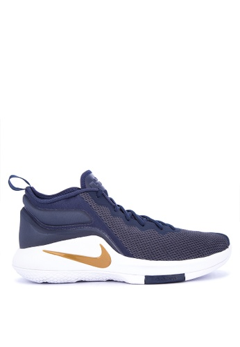 Nike white and gold and navy Men's LeBron Witness II Basketball Shoes 07F6FSHC01C45CGS_1