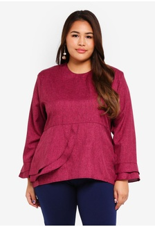 0622a52721c Buy Gene Martino Plus Size Peplum Blouse Online on ZALORA Singapore