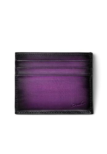 Crudo Leather Craft purple Sen'zaltro Credit Card Holder -  Vintage Purple 12BFCAC14B9C15GS_1