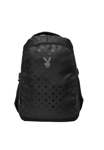 Playboy black Logo Print Backpack FC289AC34E9A69GS_1