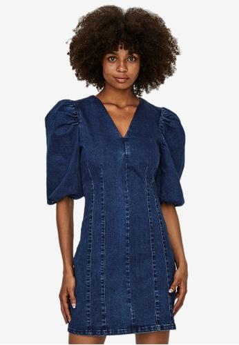 Vero Moda navy Aimee V-Neck Short Denim Dress 12340AAF3054E8GS_1