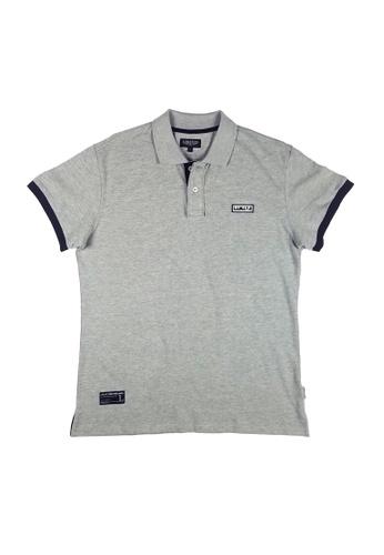 L.I.M.I.T.E grey Rubber Patch Polo Shirt LI425AA0FCJCSG_1