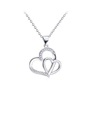 Glamorousky white 925 Sterling Silver Fashion Simple Double Heart Pendant with Cubic Zirconia and Necklace FD4DBAC27E3F49GS_1