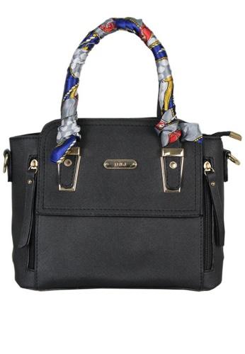 DNJ black Kylie Tote Bag with Twilly DN487AC0KU8APH_1