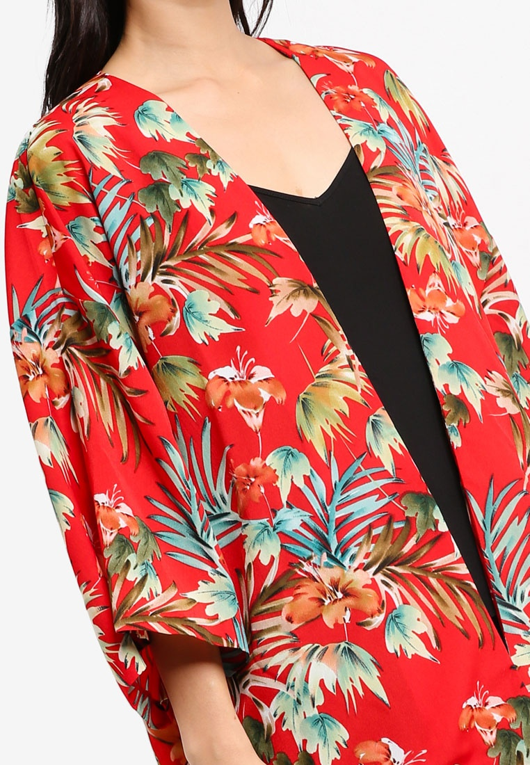 Tropical Short Print Printed Red Kimono ZALORA Cqvw0zxPx