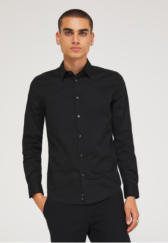 SISLEY 黑色 合身素色襯衫 79671AADDE14A6GS_1