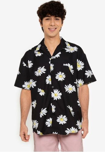 Mennace black Daisy Print Revere Shirt 12961AA7E4C680GS_1