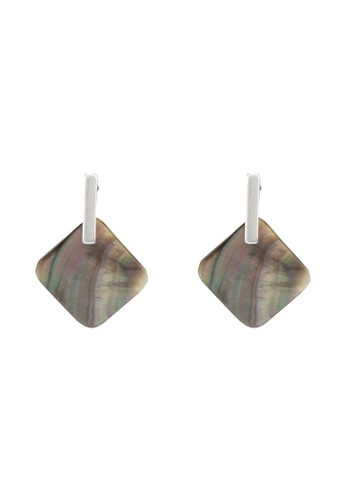 GLOBAL WORK grey Diamond Shell Earrings 0BCCDACDAB3228GS_1