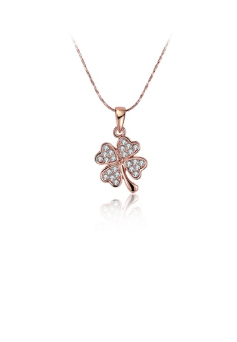 Glamorousky white Fashion Plated Rose Gold Four-leafed Clover Pendant with Austrian Element Crystal and Necklace 38726ACF96C668GS_1