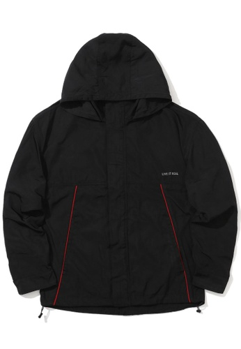 izzue black Piped outdoor jacket 8CE15AAD9921ABGS_1