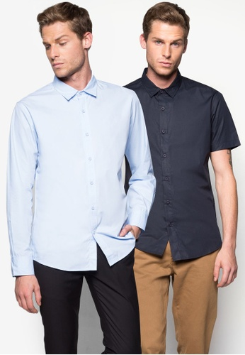 ZALORA blue and navy 2 Pack Basic Long & Short Sleeve Poplin Shirt ZA919AA50ROJSG_1