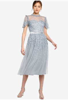 9f277449d7bfee Frock and Frill grey Short Sleeve Embellished Dress 50D4BAAEDF887CGS_1