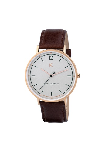 Pierre Cardin Watches brown Bonne Nouvelle Light Mens Brown and Silver Leather Watch 42 mm 7CE87ACF977293GS_1