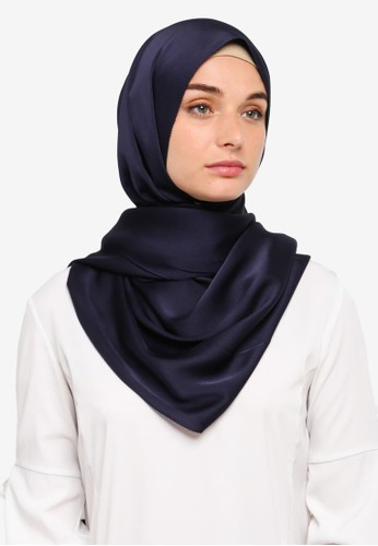 VERCATO blue and navy Premium Luxe Satin Shawl 6AF6CAA7202962GS_1