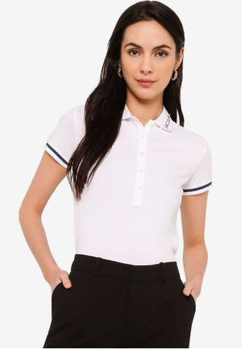 Sacoor Brothers white Women's Sports Slim Fit Polo Piqué A7BF1AAE76BEEEGS_1