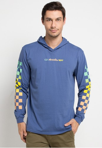 Quiksilver blue and multi Originals Check Long Sleeve Hoodie T-Shirt 9DEF1AA57DFABEGS_1