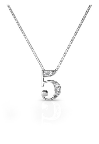 Her Jewellery silver Number Pendant (5) - Made with Premium grade crystals from Austria FC73BAC96FEBD1GS_1